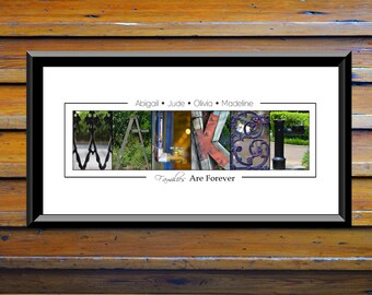 Personalize - Couple Gift Idea For Mom - Last Name Sign - Photo - Word Art - Just Married - Alphabet Name Art - Last Name Decor - Collage
