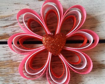 Valentines Loopy Hair Clip, Valentines Hair Bow, Heart Hair Clips, Red Hair Clips, Pink Hair Clips, Pink Hair Bows, Pink and Red Hair Bow