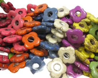 19mm Howlite Flower Beads Set of Eight