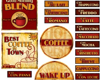 Coffee Word Art Digital - Java Clipart Words Scrapbook Quotes & Sayings - Scrapbooking Titles - Printable - Instant Download
