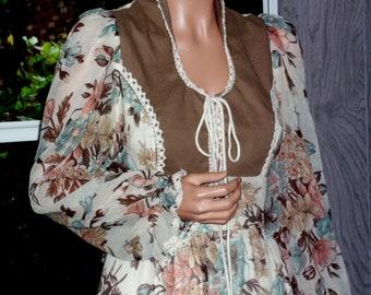 "Gunne Sax Dress ""First Blooms"" Large Vintage"