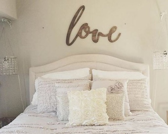 Large Love Word Wood Cut Wall Art Sign Decor