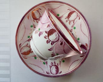 Pink Lustreware Teacup. Victorian Tea Cup and Saucer Entirely Hand Painted. Rare English Antique Tea Set. Ideal Tea For One Christmas Gift