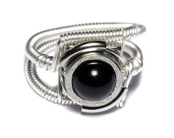 Onyx ring, Steampunk Jewelry - Ring - Black Onyx