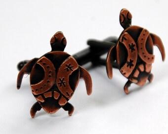 Turtle cufflinks in copper finish
