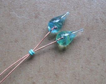 Lampwork Headpins - Glass Headpins - Parrot Glass Headpins - Copper wire - Glass Headpins Pair - SueBeads - Headpins