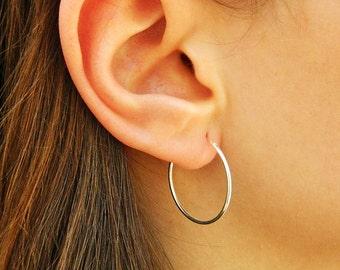 1,2X25 mm Sterling Silver Hoop Earrings - Silver Hoop Earrings - Tiny Hoop Earrings - Hoop Earrings - Small Hoop Earring - ,002H25