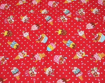 Ice cream print Japanese fabric light weight fat quarter 19.6 by 21 inches nc33