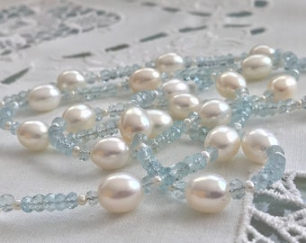 Cultured Freshwater Pearl and Aquamarine Necklace, 14k Yellow Gold (MM44)