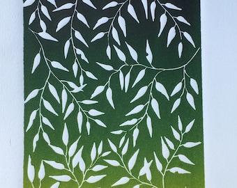 Leaves in green #linocut#handmade#art