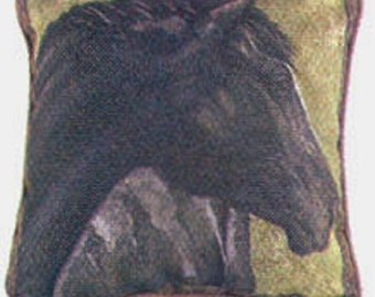 """Decorative Throw Pillow BLACK HORSE HEAD Tapestry Pillow 17"""" made in U S A"""