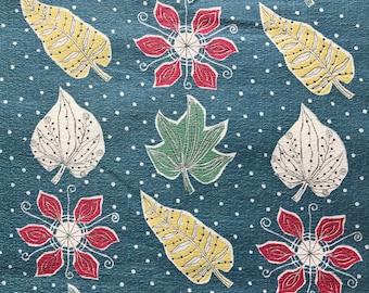 Vintage Barkcloth Fabric  - 50s Botanic Leaves Leaf, Remnant, Retro Fabric, Vintage Fabric, 1950s