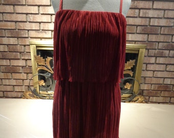 Vintage 90s Holiday Christmas Red Pleated Mini Dress or Tunic Top
