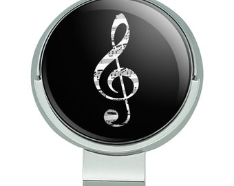 Sheet music treble clef music golf hat clip with magnetic ball marker