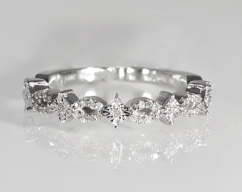 14k, Gold, White Gold, Round Brilliant, Diamonds, Stackable, Ring