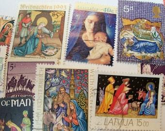 40 Christmas Postage Stamps, Postage Stamps, Nativity, Madonna, Vintage Stamps