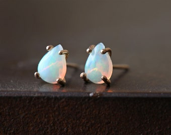 Opal Teardrop Stud Earrings