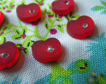 Sweet Red Apples West German Vintage Frosted Glass Cabochons with Rhinestones 1950s 6 Pcs