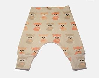 animal fox ORGANIC Baby clothes girls pants boys pants Baby leggings baby pants newborn pants organic cotton Leggigs harem pants
