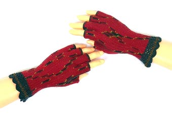 Red Black Half Finger Gloves Women's Half Finger Gloves Girls Crochet Finger Gloves Wrist Warmers Hand Warmers Arm Warmers Fingerless Gloves