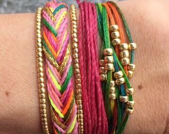 Set of 3 string bracelets, stackable bracelet, wax string bracelet, beaded bracelet, pura vida bracelet - Summer Godess