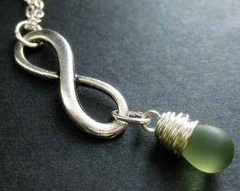 Silver Infinity Symbol Necklace. Wire Wrapped. Clouded Green Teardrop Necklace. Handmade Jewelry.