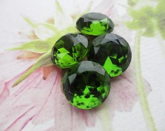 Czech Vintage Olivine Glass Doublet Gems 60ss 4Pcs