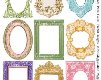 Cadres de printemps Collage feuille - Pâques printemps - des tons Pastel Français - téléchargement - imprimable
