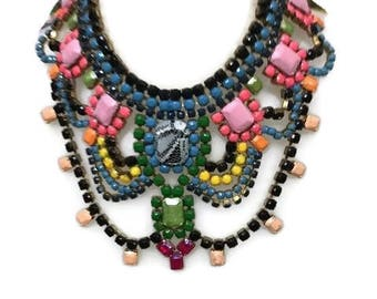 ROSABOTANICAL hand painted rhinestone super statement necklace