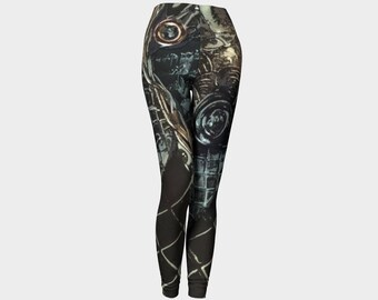 Steampunk leggings for women, unique yoga pants, black, gold, turquoise by Felicianation Ink