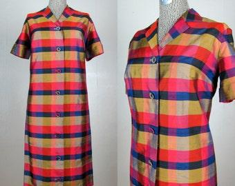 CLEARANCE // Vintage 1960s Plaid Silk Dress 60s Silk Dupioni Plaid Shirt Style Shift Dress Size L