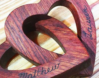 Personalized Interlocking Wooden Hearts