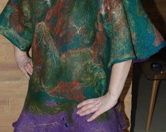 Felted Long Tunic- Vest Wearable Art Felted Art Winter Woolen Tunic original women Vest merino wool