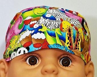 Baby Animals Chemo Cap or Skull Cap, Handmade, Alopecia, Head Wrap, Hats, Hair Loss, Bald, Helmet Liner, Do Rag, Zoo, Children, Cancer, Caps