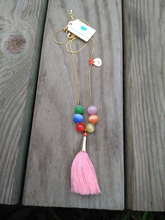 Necklace Pink Tassel and Multicolor Crystal Balls