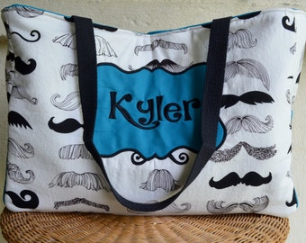 Handmade personalized mustache diaper bag