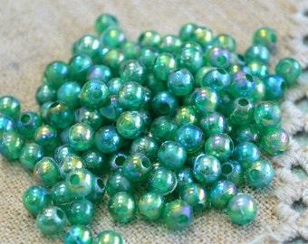 950 Beads 6mm Acrylic Translucent Emerald Green AB Round Plastic