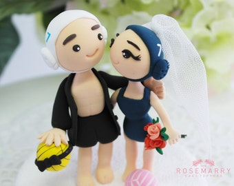Custom Cake Topper- Beach Volleyball Player Couple