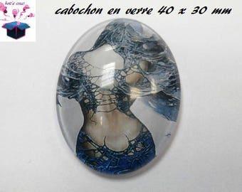1 cabochon glass 40x30mm Elf fairy theme