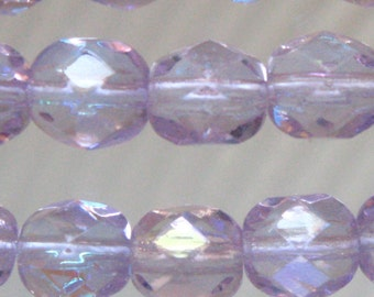 Alexandrite 6mm Round Faceted Fire Polished Czech Beads Transparent