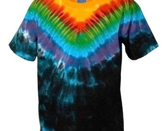 Krawatte Farbstoff T Shirt in Regenbogen und in schwarz Plus Größen