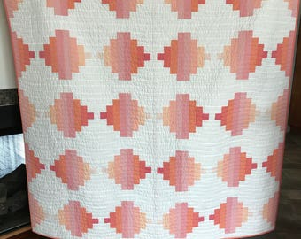 Lap, throw, couch, scrappy neutral courthouse steps patchwork quilt blanket pink peach rose white
