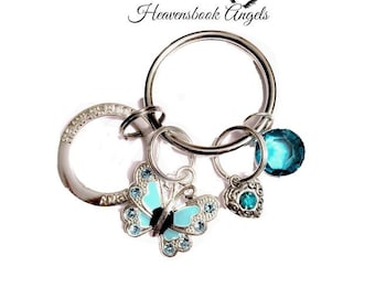 Halo Grief Blue Swarovski Crystal Butterfly Grief Memorial Sympathy Keychain   funeral gift   cemetary   Loss in Memory of