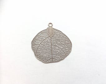 prints 6 openwork leaf rhodium 40x39mm for creations of jewels