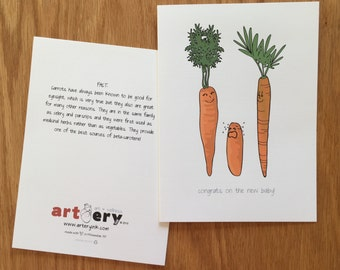 Baby Carrot Congrats - New Baby - greeting card (5x7)