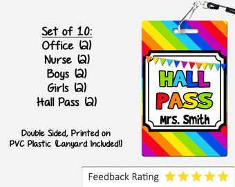 Rainbow Theme Classroom Hall Passes for Teachers, Personalized, Set of 10