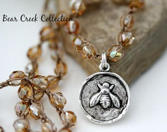 Bee Necklace, Honey, Champagne, Neutral, Glass Pearls, Artisan, Pewter, Wax Seal Charm, Crochet Jewelry, Knotted, Layering Necklace