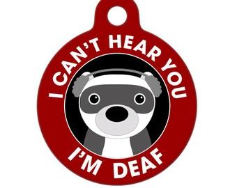 Deaf Medical Id Tag - Deaf Ferret Medical Alert Pet Tag, Ferret Tag, Bag Tag, Child ID Tag, Dog Tag