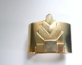Big gold cuff Art deco cuff Big bracelet Big cuff Large cuff Large bracelet cuff Chrysler Building Gatsby era Art deco bracelet Great Gatsby