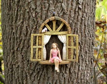 miniature garden girl no wings mini garden accessory girl sitting in miniature window - Fairy Garden Accessories